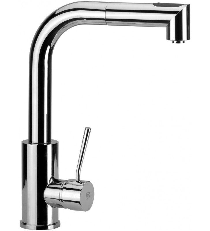 Miscelatore monocomando laterale per lavello a base tonda alto con bocca girevole e doccetta ad - Base per lavello cucina ...