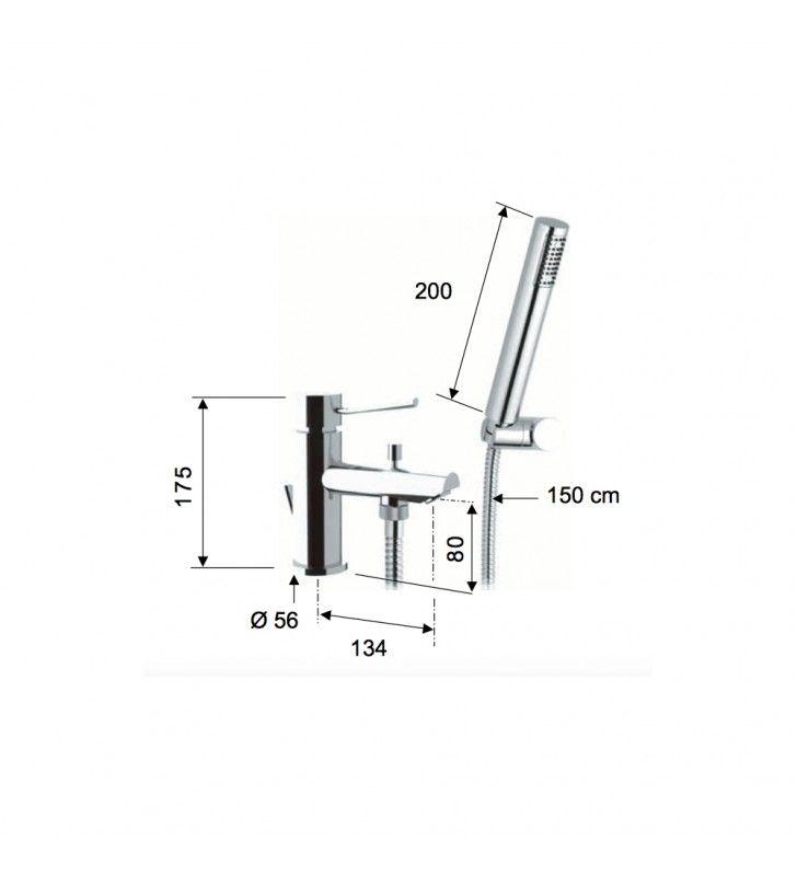 Miscelatore lavabo/vasca con deviatore e kit doccia serie minimal Remer N03
