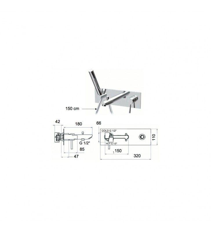 Rubinetto per vasca da incasso, deviatore e kit doccia integrato serie minimal Remer N04