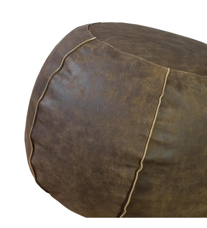 Pouf tondo in pelle marrone 50x35 h Juteco POUFPERMAR