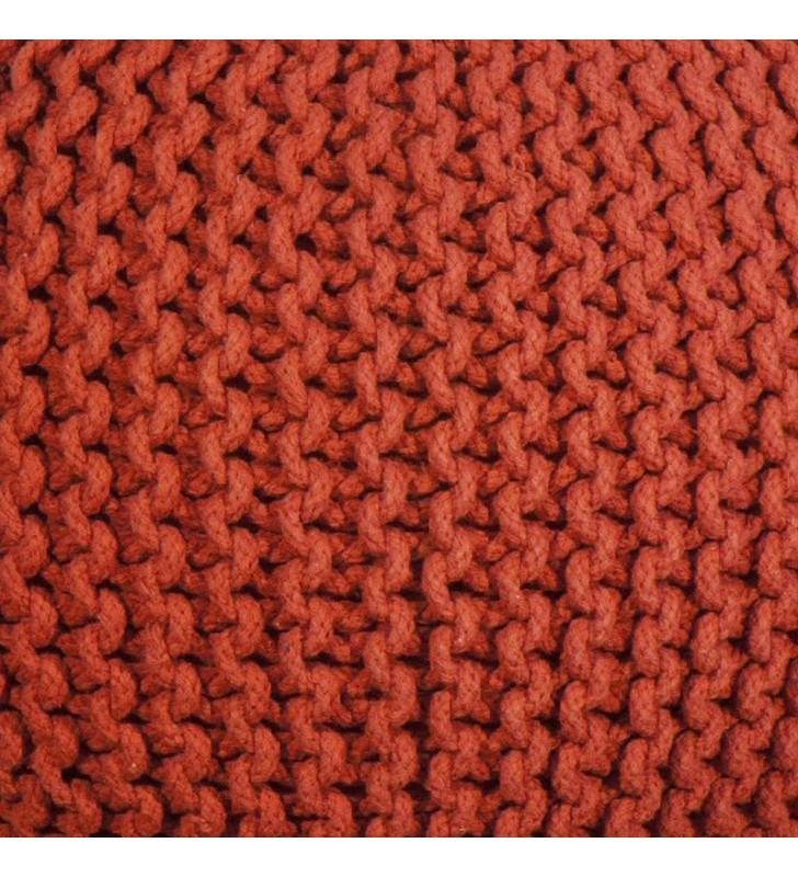 Pouf tondo rosso effetto uncinetto 50x35 Juteco POUFROS
