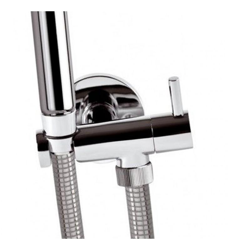 Set idroscopino composto da: idroscopino art. rb100, flessibile crom e rubinetto minimal Remer RB100S02