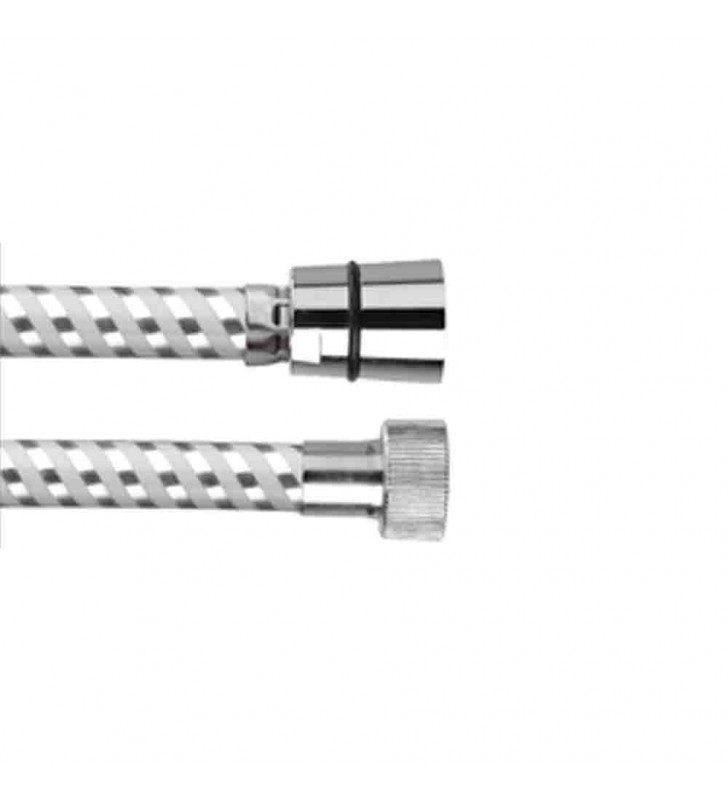 Flessibile biflex per doccia in pvc atossico, cromo-bianco 200 cm RR 332CN200