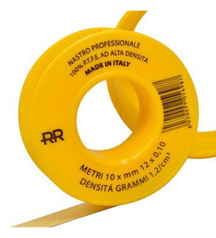 Nastro p.t.f.e. giallo professionale per gas 12mm x 10m Remer 573