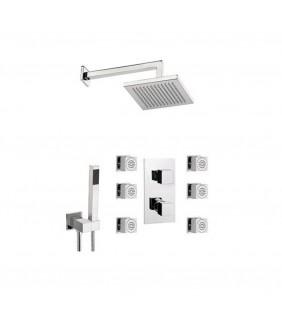 Set doccia con soffione sq, supporto, doccetta e miscelatore - serie sq3