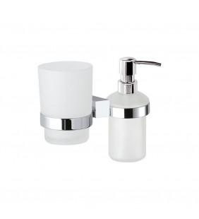 Supporto da muro doppio con portabicchiere e dispenser sapone - serie sq