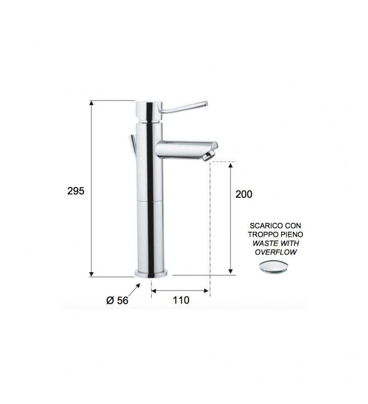 Miscelatore minimal alto per lavabo con o senza scarico rubinetteria remer Remer N1XL