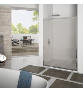 Porta scorrevole 117-121 cm, vetro trasparente 6 mm, h. 1,95, cerniere sganciabili- new plus Aquasanit B0333PCR01