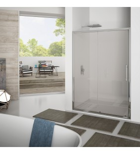 Porta scorrevole 137-141 cm, vetro trasparente 6 mm, 1 ,95 cerniere sganciabili new plus Aquasanit B0335PCR01