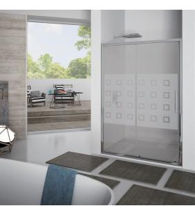 Porta scorrevole 117-121 cm, vetro serigrafato 6 mm, h. 1,95, cerniere sganciabili- new plus Aquasanit B0333PCR55