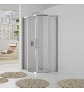 Box doccia semicircolare 87-89*87-89 cm new plus,vetro trasparente 6 mm, 1,95 h, cerniere sganciabili