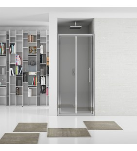 New plus - porta soffietto 87-91 cm vetro trasparente 6mm, h. 1,95 Aquasanit B0374PCR01