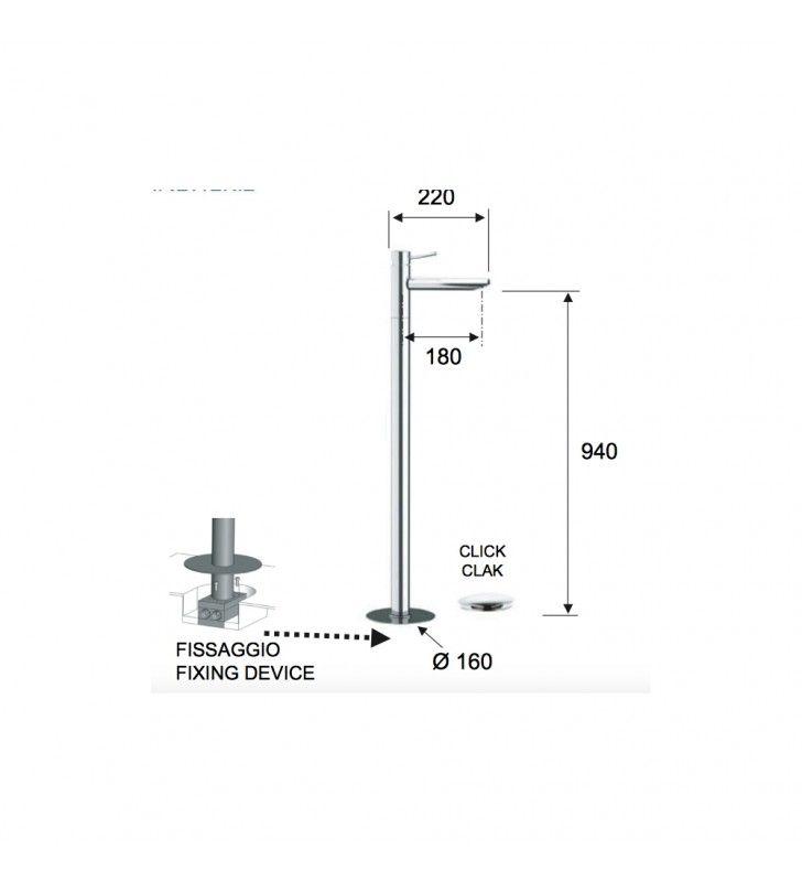 Miscelatore lavabo a pavimento design minimal Remer N18