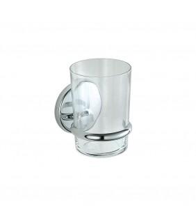 Porta bicchiere cromato serie lipari - fissaggio ad incollo o viti