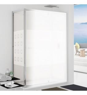 Parete fissa 87-89 cm vetro serigrafato 6 mm, h. 1,95 da abbinare ad una porta - new plus Aquasanit B0354PCR55