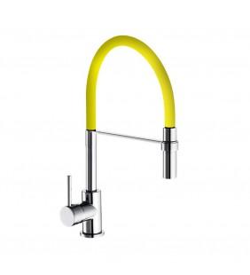 Rubinetto da cucina winter a bocca alta con flessibile color giallo e doccia estraibile Idrobric SCARUB0777GI