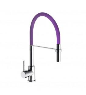 Rubinetto per lavello a bocca alta con flessibile viola e doccia estraibile winter Idrobric SCARUB0780VI