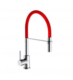 Miscelatore lavello a bocca alta con doccetta estraibile e flessibile rosso winter Idrobric SCARUB0779RO