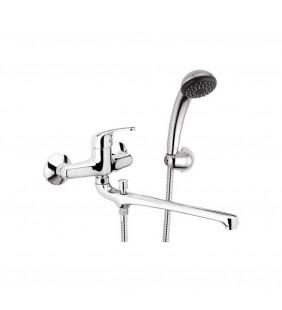 Rubinetto lavabo/vascacon bocca fusa lunga e kit doccia - serie 35 Remer F49