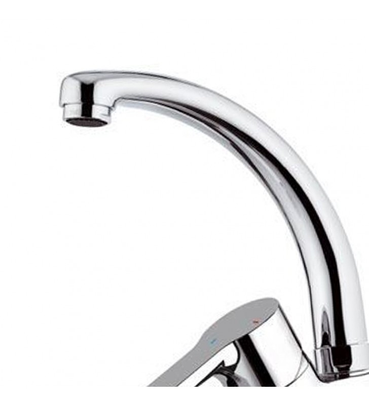 Rubinetto per lavello con bocca alta girevole, modello corto, risparmio energetico e idrico - serie winner eco Remer WE42CLT8
