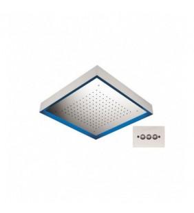 Soffione quadro retroilluminato a soffitto in acciaio inox Remer 357LS57