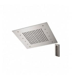 Soffione a soffitto 1 getto 43x43 cm con led in acciaio inox Remer 357RS43W