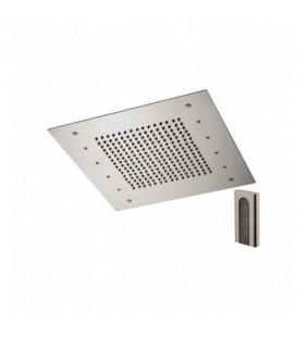Soffione a soffitto 1 getto 50x50 cm con led in acciaio inox Remer 357RS50W
