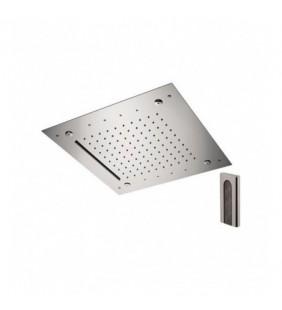 Soffione a soffitto 3 getti 43x43 cm con led in acciaio inox Remer 357RS43NCW