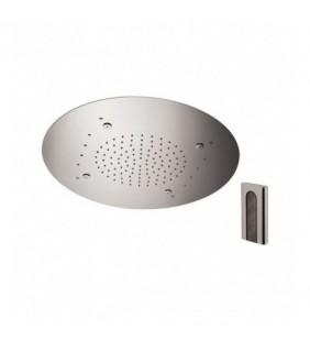 Soffione a soffitto 2 getti con led e diametro di 55 cm Remer 357RM55NW