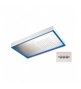 Soffione a soffitto 1 getto 77X47 cm con led in acciaio inox Remer 357LR7747