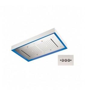 Soffione a soffitto 3 getti 77X47 cm con led in acciaio inox Remer 357LR7747N2C