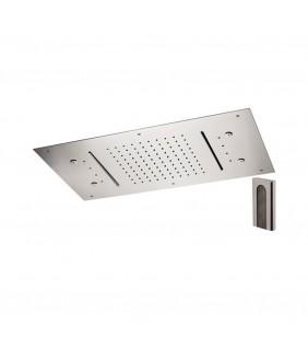 Soffione a soffitto 3 getti 70X40 cm con led e doppia cascata Remer 357RR7040N2CW