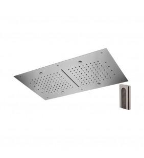 Soffione a soffitto 3 getti 70X40 cm con led in acciaio inox Remer 357RR7040NCW