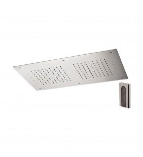 Soffione a soffitto 1 getto 70X40 cm con led in acciaio inox Remer 357RR7040W