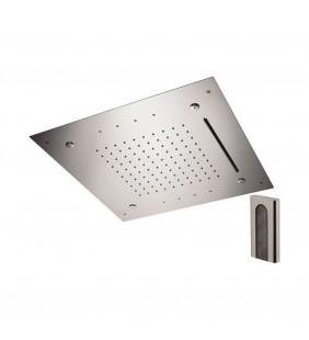 Soffione a soffitto 3 getti 50x50 cm con led in acciaio inox Remer 357RS50NCW