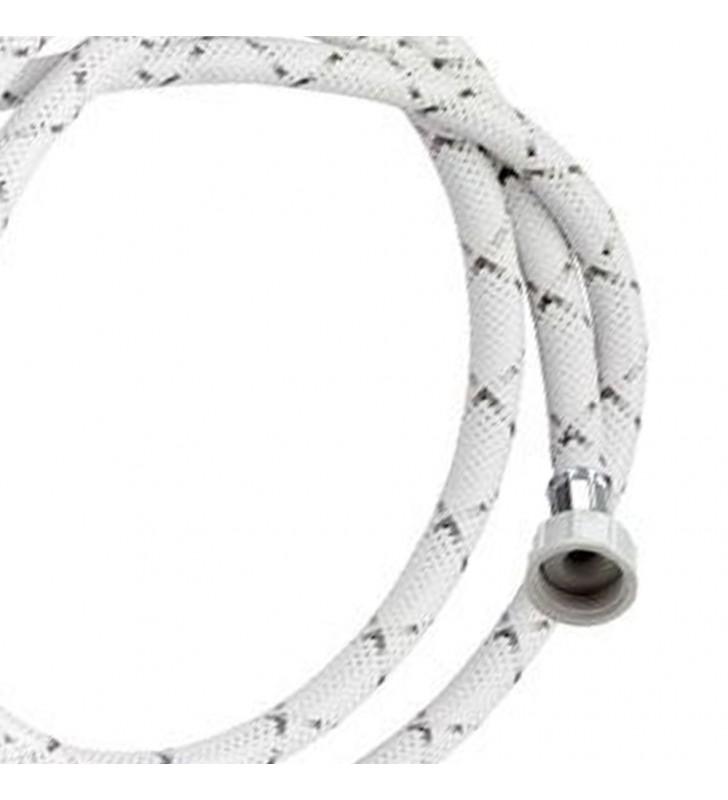 Tubo di carico con treccia in nylon bianco con banda grigia e curvetta 100 cm RR 296100