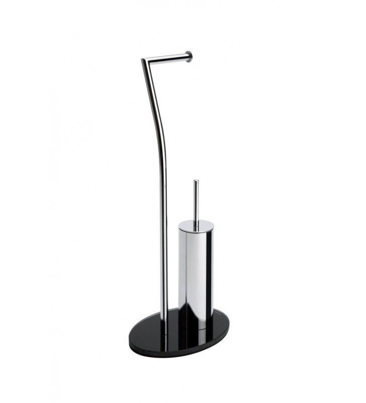 Piantana WC in metallo cromato con base in vetro NERA