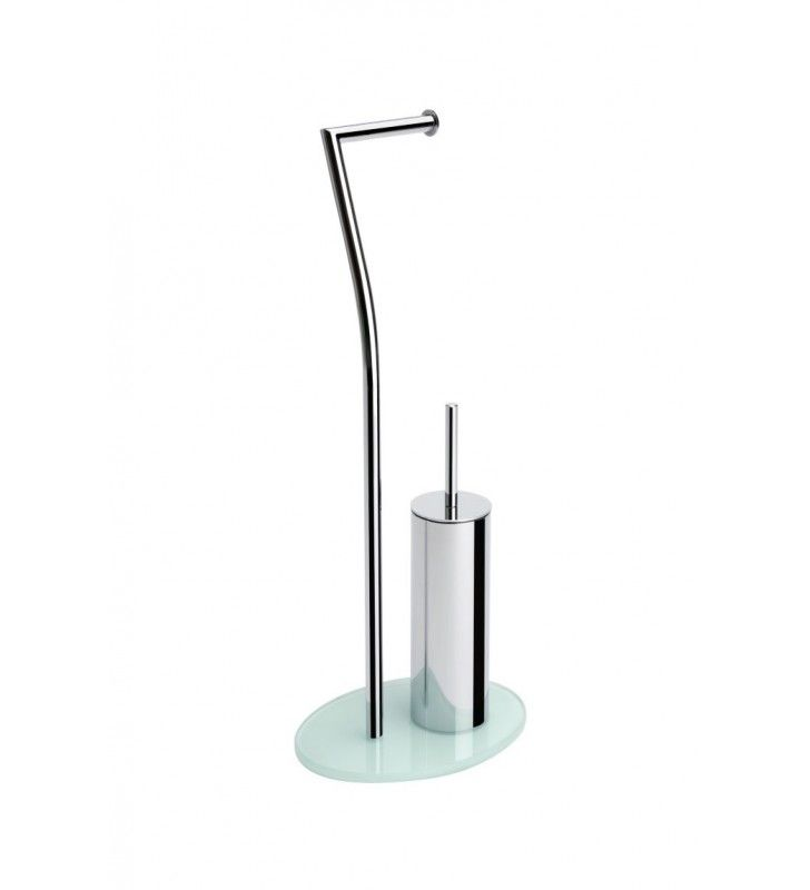 Piantana wc in metallo cromato con base in vetro bianca