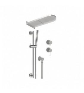 Set doccia con miscelatore incasso, soffione a parete e saliscendi in acciaio inox - Serie X Style Inox Remer SSX93PS01MMCA