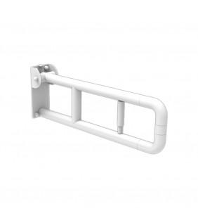 Barra maniglione ribaltabile adatto per disabili e terza et〠cm 60 con porta rotolo alluminio nylon bianco