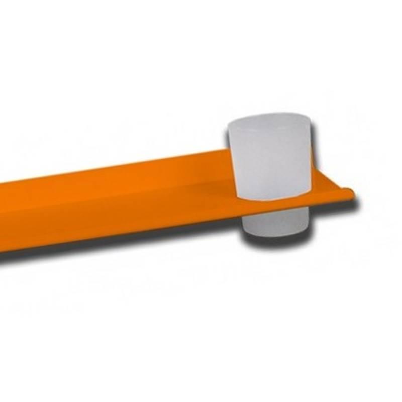 Mensola allumionio arancio con bicchiere e piattino porta sapone Goman LEO-B165/65