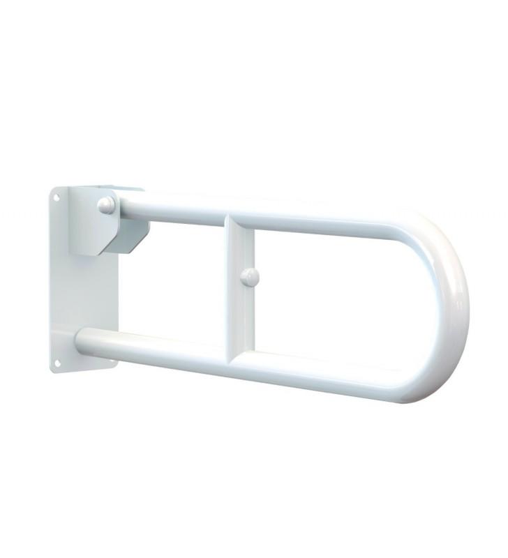 Maniglione serie care ribaltabile in acciaio laccato bianco 70 cm Aquasanit A10690AC008