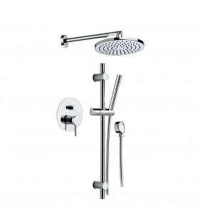 Set doccia suvi completo caratterizzato da forme tonde e minimali ideali per rendere l'ambiente bagno raffinato ed elegante