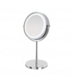 Specchio da appoggio cromo con led d:17cm