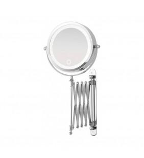 Specchio estensibile cromo con led d:15cm