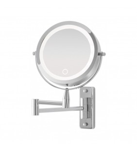 Specchio da muro cromo con led d:17cm