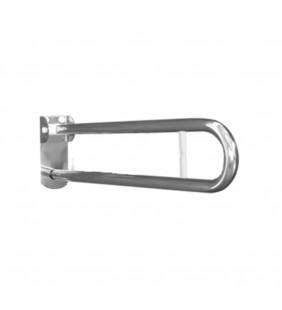 Maniglione barra cm 80 con porta rotolo e piastra lunga inox bianco Goman XB14/01