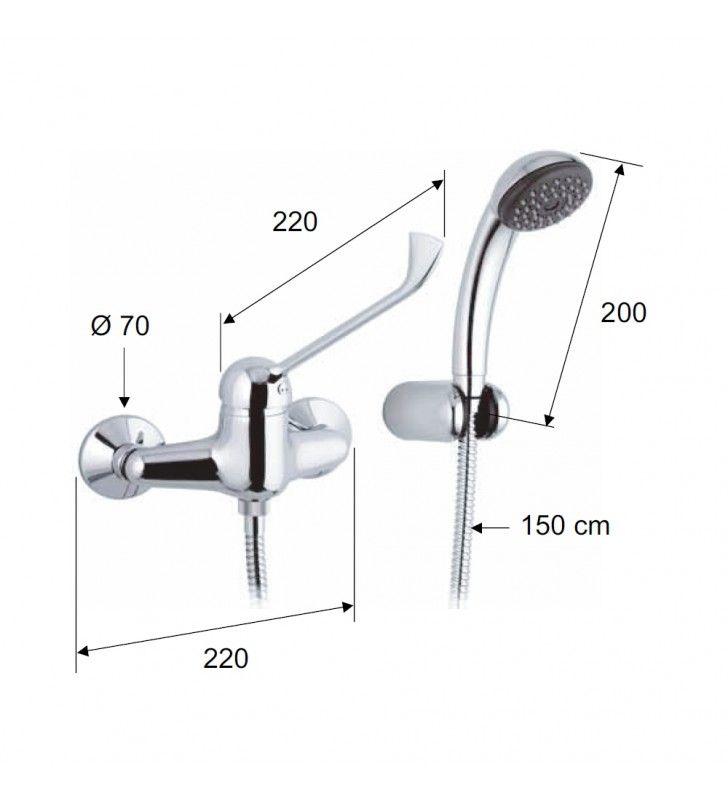 Rubinetto esterno per doccia con doccia duplex con leva lunga - serie kiss Remer K39LL