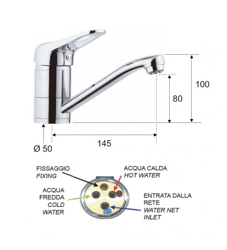 Rubinetto per lavabo o lavello con bocca girevole corta, per bassa pressione - serie kiss Remer K40BPC
