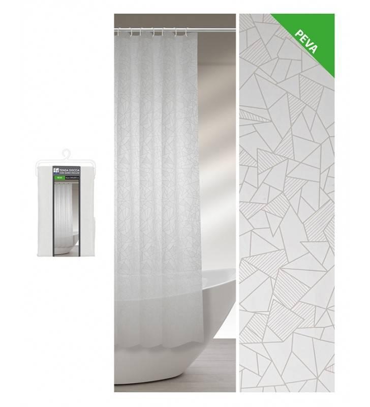 Tenda doccia 240 x 200 bianco grigio in peva Feridras 187060